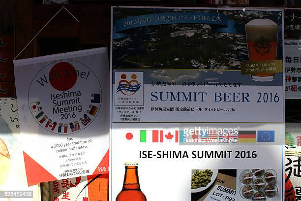 Ise-Shima summit welcome notices hang on the entrance of a beer stall at Okage Yokocho, a traditional shopping street on May 5, 2016 in Ise, Japan....