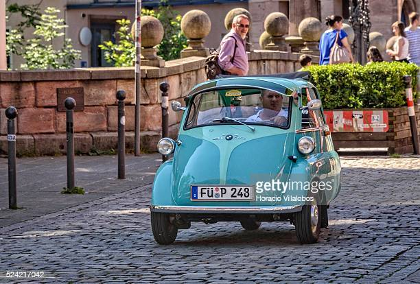 Isetta 250 'bubble car' seen in one of the Old Town's streets in Nuremberg Germany 05 June 2015 The old town of Nuremberg in the shadow of the...