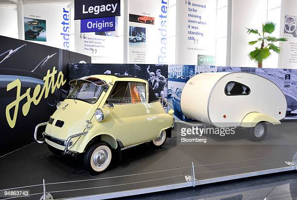 Isetta 'Bubble Car' and camper sit on display at the Zentrum visitors center part of the company's BMW Manufacturing Co plant in Spartanburg South...