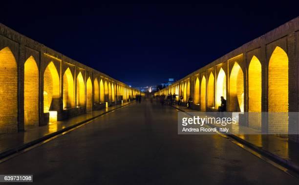 isfahan bridge by night, iran - isfahan ストックフォトと画像