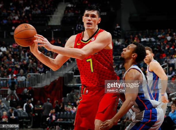 Ish Smith of the Detroit Pistons defends against Ersan Ilyasova of the Atlanta Hawks at Philips Arena on February 11 2018 in Atlanta Georgia NOTE TO...