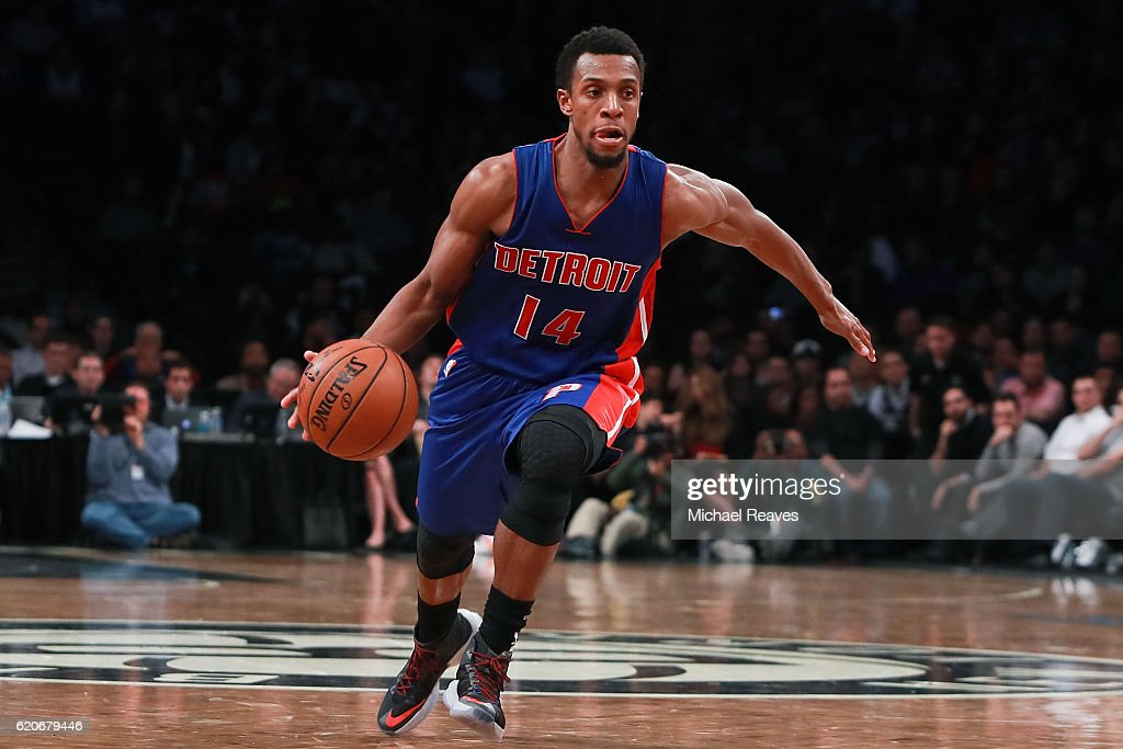 Ish Smith #14 of the Detroit Pistons dribbles up court against the Brooklyn Nets during the second half at Barclays Center on November 2, 2016 in New York City.