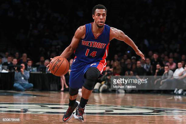 Ish Smith of the Detroit Pistons dribbles up court against the Brooklyn Nets during the second half at Barclays Center on November 2 2016 in New York...
