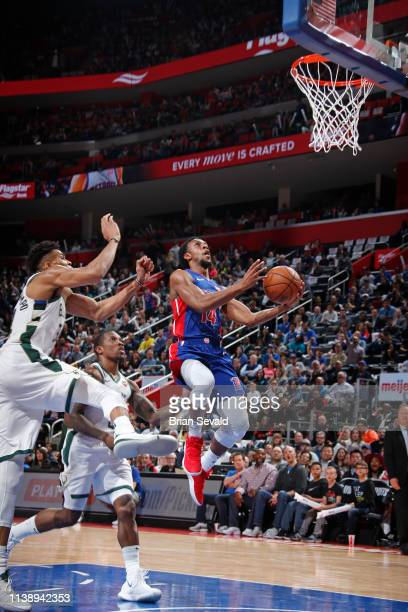 Ish Smith of the Detroit Pistons goes to the basket against the Milwaukee Bucks during Game Four of Round One of the 2019 NBA Playoffs on April 22...
