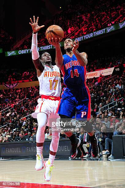 Ish Smith of the Detroit Pistons goes up for a lay up against the Atlanta Hawks on December 2 2016 at Philips Arena in Atlanta Georgia NOTE TO USER...