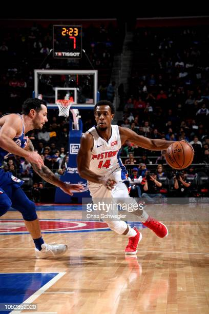 Ish Smith of the Detroit Pistons handles the ball against the Philadelphia 76ers on October 23 2018 at Little Caesars Arena in Auburn Hills Michigan...