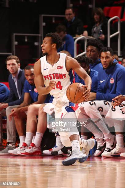 Ish Smith of the Detroit Pistons handles the ball against the Denver Nuggets on December 12 2017 at Little Caesars Arena in Detroit Michigan NOTE TO...