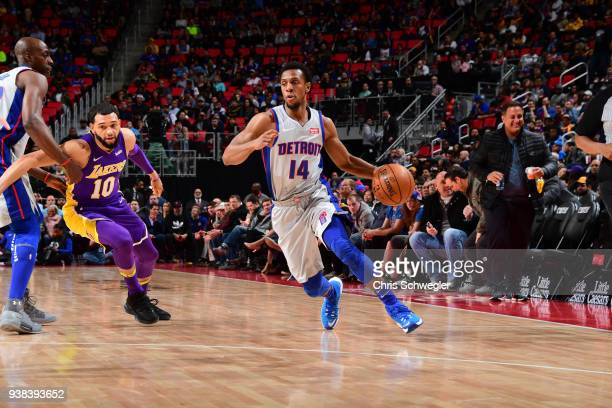 Ish Smith of the Detroit Pistons handles the ball against the Los Angeles Lakers on March 26 2018 at Little Caesars Arena in Detroit Michigan NOTE TO...