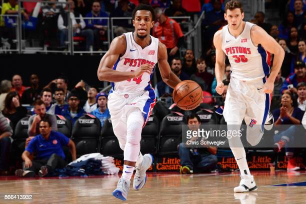 Ish Smith of the Detroit Pistons handles the ball against the Minnesota Timberwolves on October 25 2017 at Little Caesars Arena in Detroit Michigan...