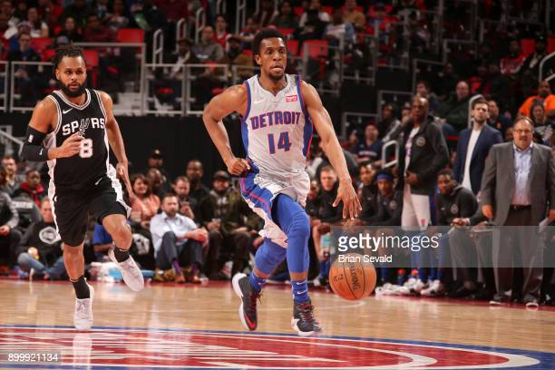 Ish Smith of the Detroit Pistons handles the ball against the San Antonio Spurs on December 30 2017 at Little Caesars Arena in Detroit Michigan NOTE...