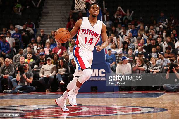 Ish Smith of the Detroit Pistons handles the ball during a game against the Charlotte Hornets on January 5 2017 at The Palace of Auburn Hills in...