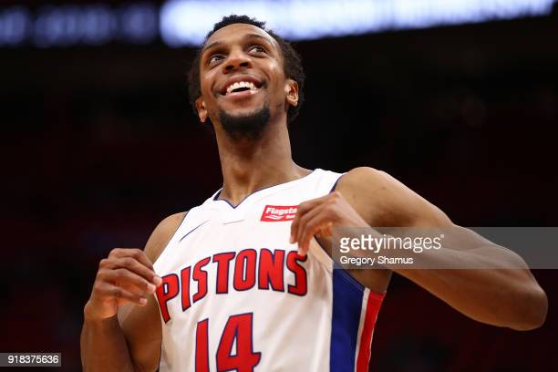 Ish Smith of the Detroit Pistons looks on while playing the Atlanta Hawks at Little Caesars Arena on February 14 2018 in Detroit Michigan Detroit won...