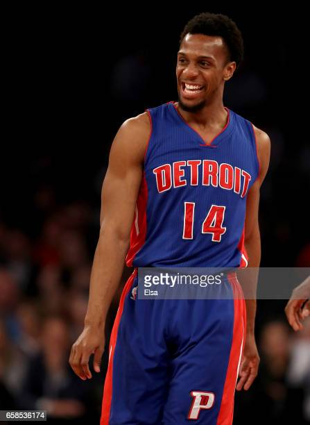 Ish Smith of the Detroit Pistons reacts in the first half against the New York Knicks at Madison Square Garden on March 27 2017 in New York City NOTE...