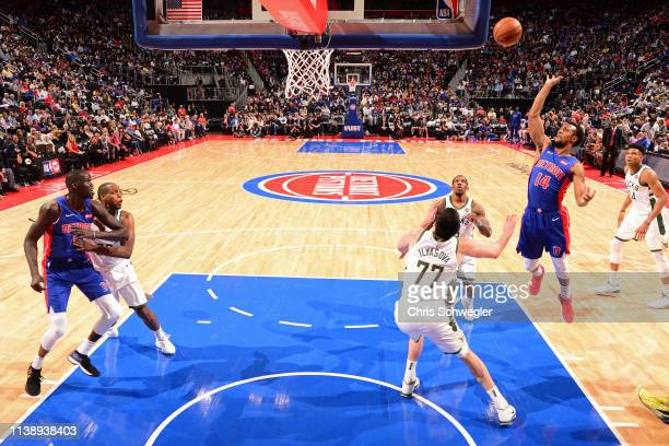 Ish Smith of the Detroit Pistons shoots the ball against the Milwaukee Bucks during Game Four of Round One of the 2019 NBA Playoffs on April 22 2019...