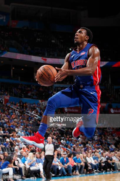 Ish Smith of the Detroit Pistons shoots the ball against the Oklahoma City Thunder during a preseason game on October 3 2018 at the Chesapeake Energy...