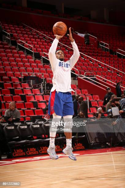 Ish Smith of the Detroit Pistons shoots the ball before the game against the Denver Nuggets on December 12 2017 at Little Caesars Arena in Detroit...