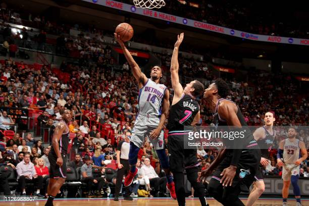 Ish Smith of the Detroit Pistons shoots the ball during the game against the Miami Heat on February 23 2019 at American Airlines Arena in Miami...