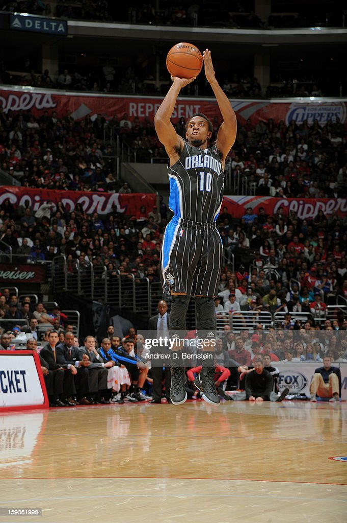Ish Smith #10 of the Orlando Magic takes a three point shot against the Los Angeles Clippers at Staples Center on January 12, 2013 in Los Angeles, California.