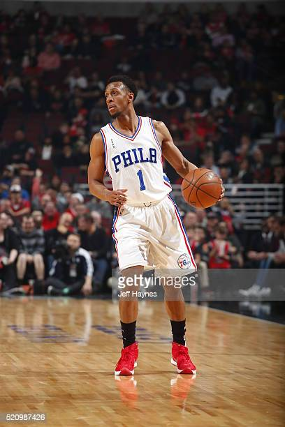 Ish Smith of the Philadelphia 76ers dribbles the ball against the Chicago Bulls on April 13 2016 at the United Center in Chicago Illinois NOTE TO...