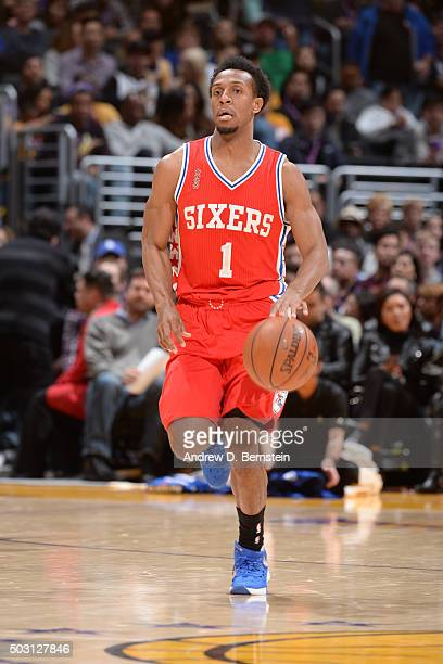 Ish Smith of the Philadelphia 76ers handles the ball against the Los Angeles Lakers on January 1 2016 at STAPLES Center in Los Angeles California...