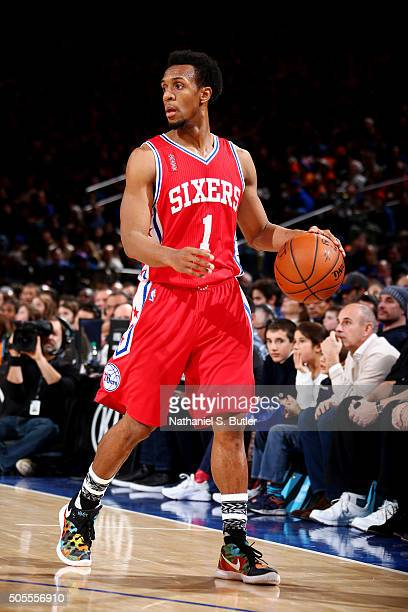 Ish Smith of the Philadelphia 76ers handles the ball against the New York Knicks on January 18 2016 at Madison Square Garden in New York City New...