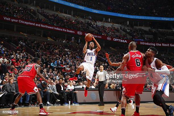 Ish Smith of the Philadelphia 76ers shoots the ball against the Chicago Bulls on April 13 2016 at the United Center in Chicago Illinois NOTE TO USER...