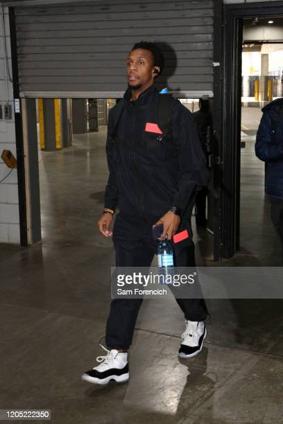 Ish Smith of the Washington Wizards arrives to the game against the Portland Trail Blazers on March 4 2020 at the Moda Center Arena in Portland...