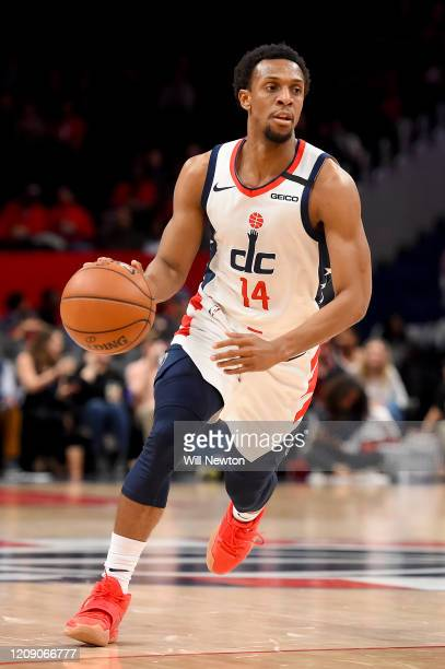 Ish Smith of the Washington Wizards dribbles against the Brooklyn Nets during the first half at Capital One Arena on February 26 2020 in Washington...