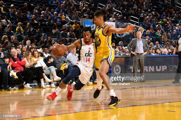Ish Smith of the Washington Wizards drives to the basket against the Golden State Warriors on March 1 2020 at Chase Center in San Francisco...