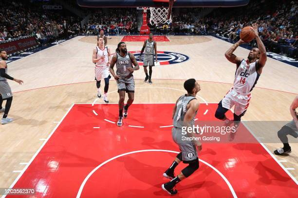 Ish Smith of the Washington Wizards drives to the basket during a game against the Brooklyn Nets on February 26 2020 at Capital One Arena in...