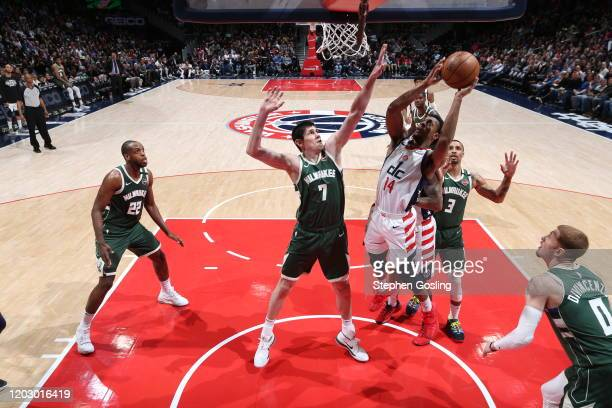 Ish Smith of the Washington Wizards drives to the basket during the game against the Milwaukee Bucks on February 24 2020 at Capital One Arena in...