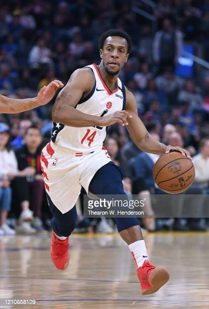 Ish Smith of the Washington Wizards drives towards the basket against the Golden State Warriors during the first half of an NBA basketball game at...