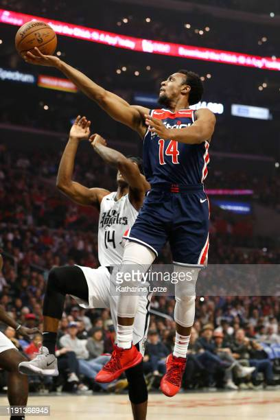 Ish Smith of the Washington Wizards goes up for a shot as Terance Mann of the Los Angeles Clippers defends during the first half at Staples Center on...
