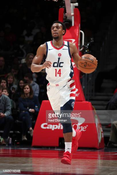 Ish Smith of the Washington Wizards handles the ball during the game against the Milwaukee Bucks on February 24 2020 at Capital One Arena in...