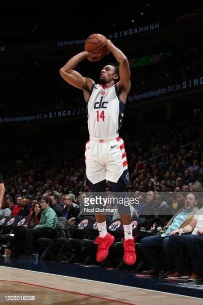 Ish Smith of the Washington Wizards shoots a three point basket during the game against the Milwaukee Bucks on February 24 2020 at Capital One Arena...