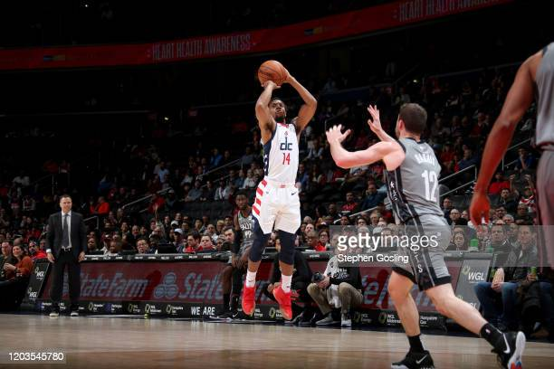 Ish Smith of the Washington Wizards shoots the ball during a game against the Brooklyn Nets on February 26 2020 at Capital One Arena in Washington DC...