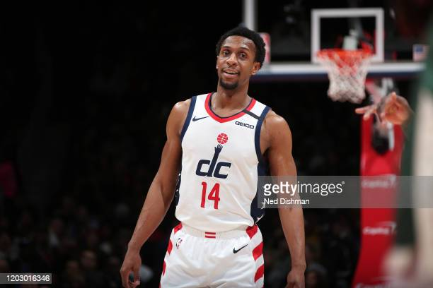 Ish Smith of the Washington Wizards smiles during the game against the Milwaukee Bucks on February 24 2020 at Capital One Arena in Washington DC NOTE...