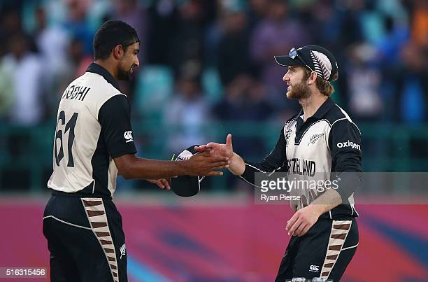 Ish Sodhi and Kane Williamson of New Zealand celebrate after the ICC World Twenty20 India 2016 Super 10s Group 2 match between Australia and New...
