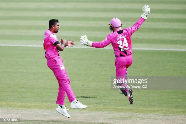 Ish Sodhi and Tim Seifert of the Knights celebrate the wicket of Josh Clarkson of the Stags during the Super Smash Grand Final match between the...
