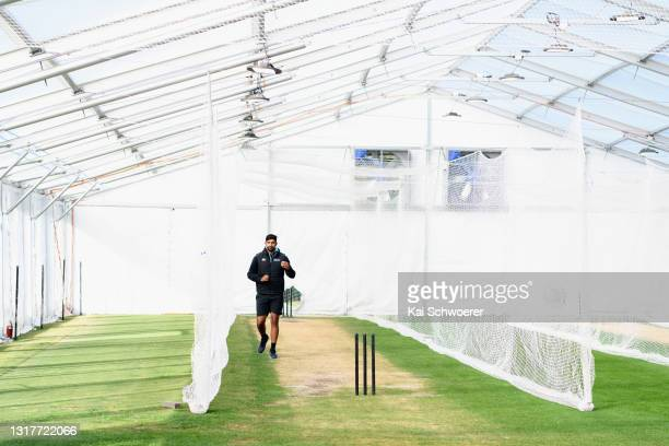 Ish Sodhi looks on during a New Zealand Blackcaps training session at the New Zealand Cricket High Performance Centre on May 13, 2021 in Lincoln, New...
