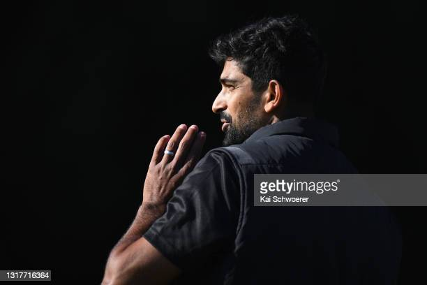 Ish Sodhi looks to bowl during a New Zealand Blackcaps training session at the New Zealand Cricket High Performance Centre on May 13, 2021 in...
