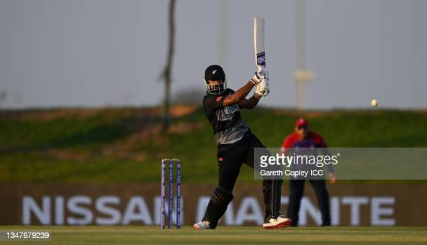 Ish Sodhi of New Zealand bats during the England and New Zealand warm Up Match prior to the ICC Men's T20 World Cup at on October 20, 2021 in Abu...