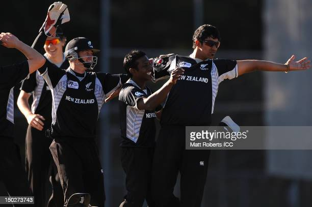 Ish Sodhi of New Zealand celebrates with team mates during the ICC U19 Cricket World Cup 2012 match between New Zealand and Afghanistan at Kev...