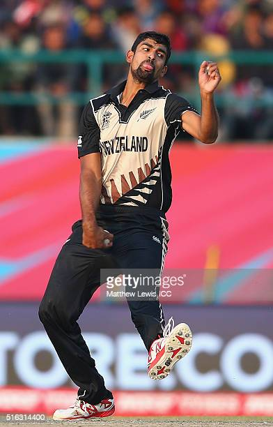 Ish Sodhi of New Zealand in action during the ICC World Twenty20 India 2016 match between Australia and New Zealand at the HPCA Stadium on March 18...