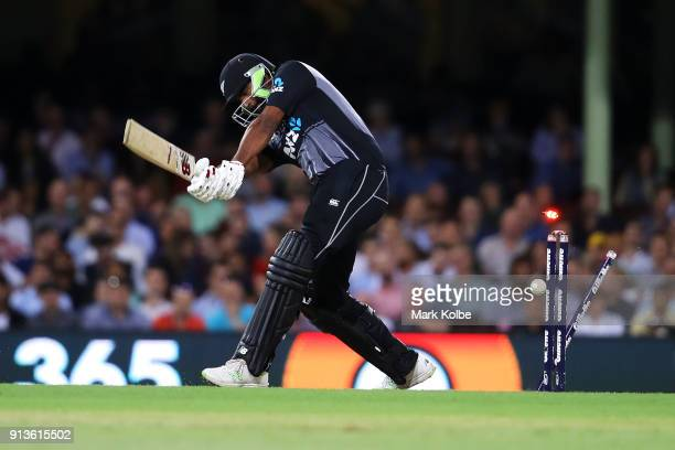 Ish Sodhi of New Zealand is bowled by Andrew Tye of Australia during game one of the International Twenty20 series between Australia and New Zealand...