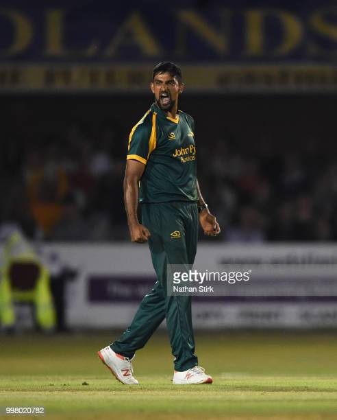 Ish Sodhi of Nottingham celebrates getting a wicket during the Vitality Blast match between Derbyshire Falcons and Notts Outlaws at The 3aaa County...
