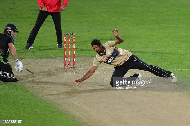 Ish Sodhi of the Black Caps attempts to stop the ball during game four of the International T20 series between New Zealand Blackcaps and Australia at...