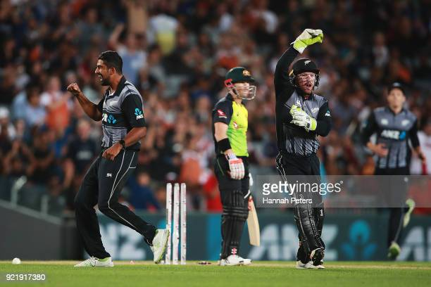 Ish Sodhi of the Black Caps celebrates after bowlng out David Warner of Australia during the International Twenty20 Tri Series Final match between...