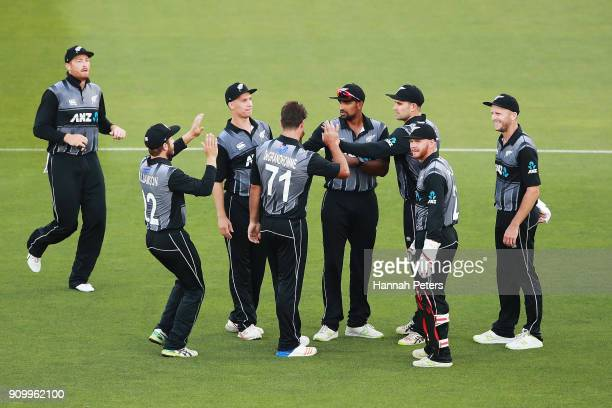 Ish Sodhi of the Black Caps celebrates after claiming the wicket of Fakhar Zaman of Pakistan during the International Twenty20 match between New...