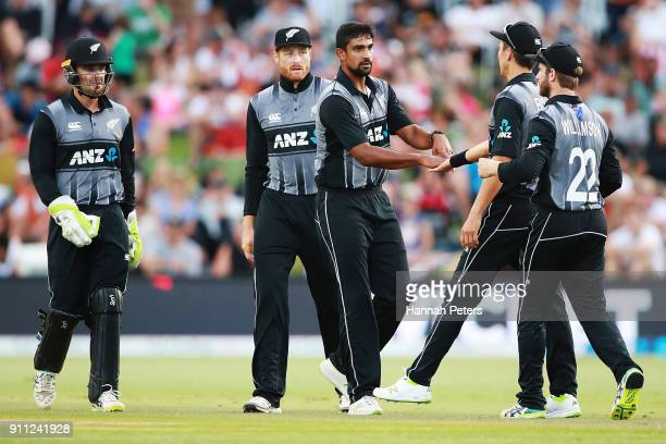 Ish Sodhi of the Black Caps celebrates the wicket of Babar Azam of Pakistan during game three of the International Twenty20 match between New Zealand...